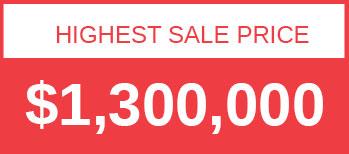 Highest Sale Price $1,300,000